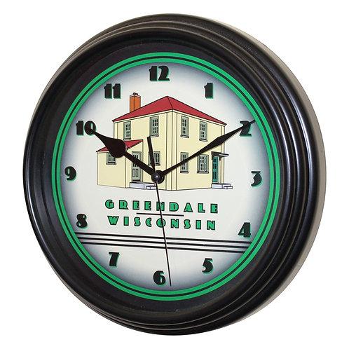 "Greendale Original House - 8.75"" Black Plastic Wall Clock"