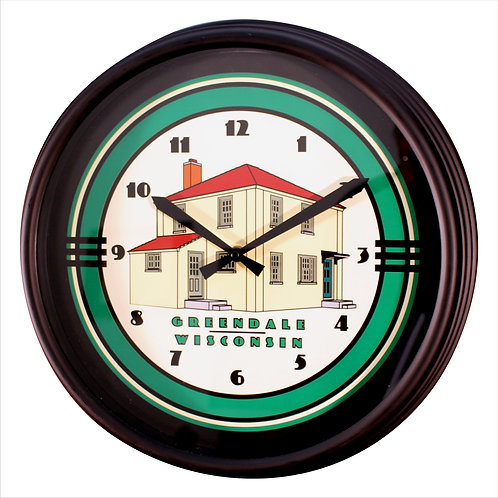 "Greendale Original House Large - 16"" Black Plastic Wall Clock"