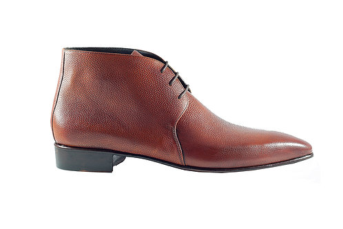 Grain leather lace up boots