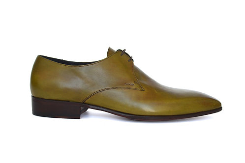 Green smooth leather derby