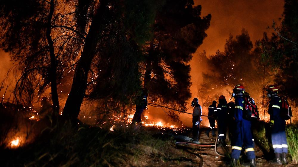 Πυροσβέστες επιχειρούν για την κατάσβεση της δασικής πυρκαγιάς στο Σχίνο Κορινθίας / Πηγή: Eurokinissi
