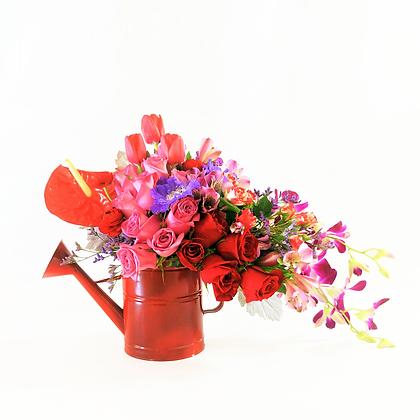 Regadera flores mixtas chica