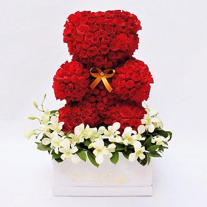 Oso rojo con orquídeas 35cm