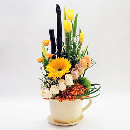Taza flores amarillas