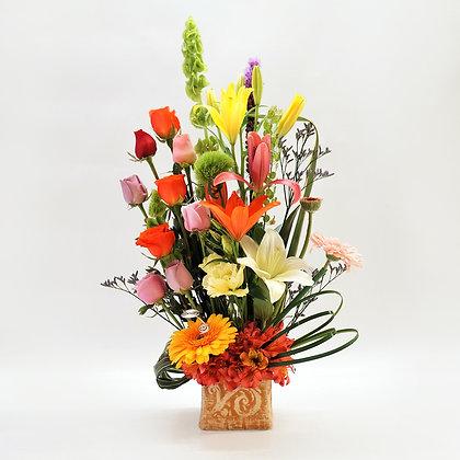Arreglo flores mixtas multicolor