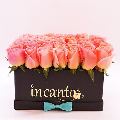 Caja rosas durazno