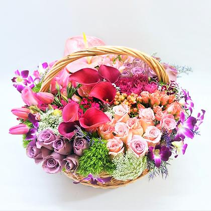 Canasta flores mixtas