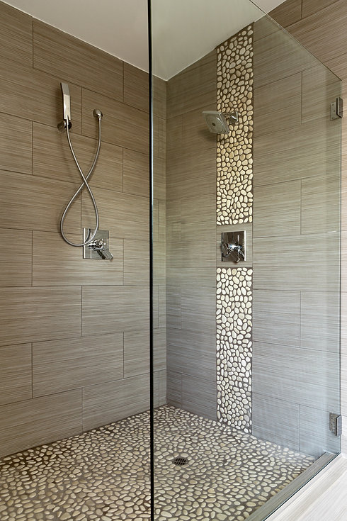 Contemporary Bathroom Shower with Dual S
