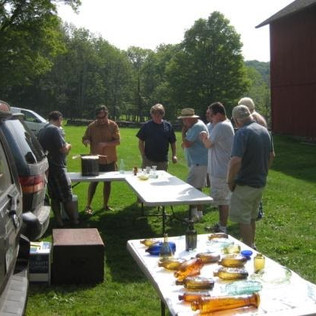 Fresh material always draws a crowd!  A few n'er do wells gathering in the field to the North of Norm Heckler's barn.