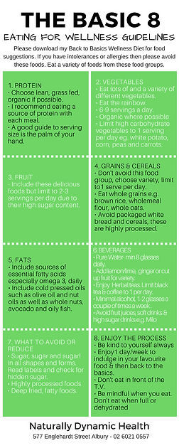 8 Back to Basics - Wellness Diet and Eating Guidelines