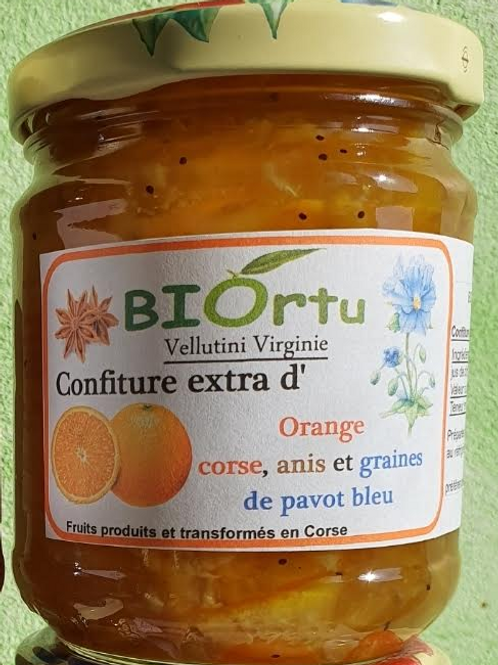 Confiture orange, anis et graines de pavot bleu 250gr BIO
