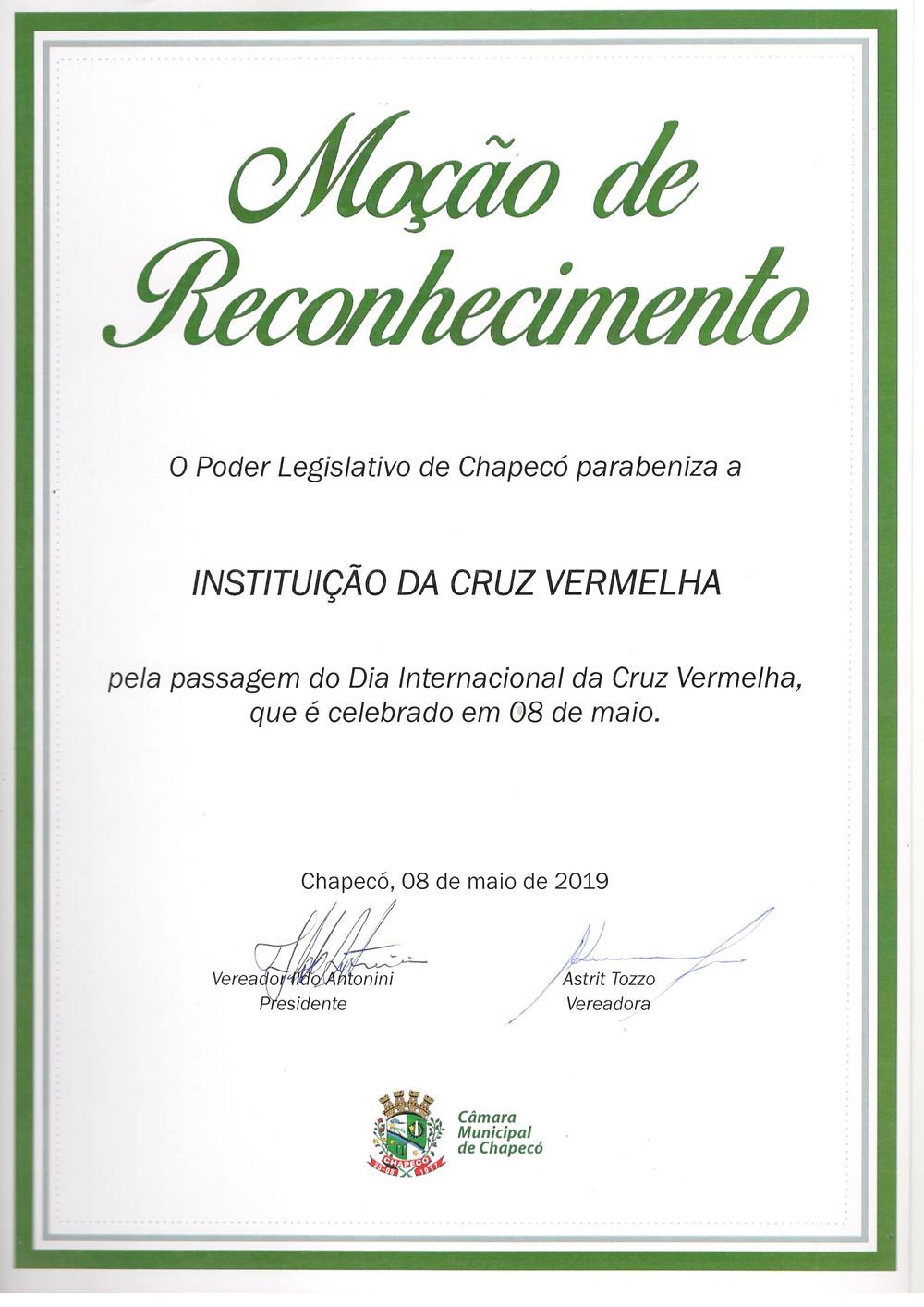 CVB Chapecó recebe Moção de Reconhecimento do poder Legislativo