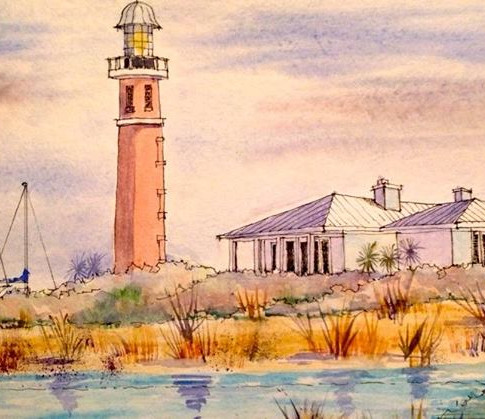 Jerry Art PonceInlet Lighthouse and Buil
