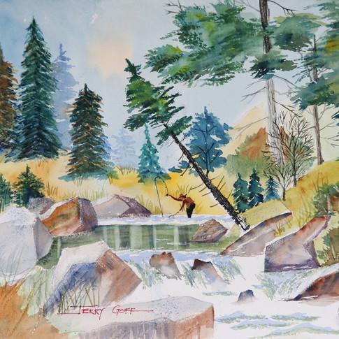 Jerry Art Fly Fishing the Falls.jpg
