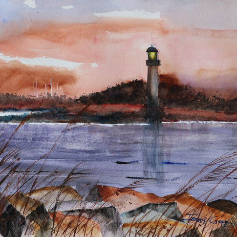 Jerry Art Ponce Inlet Sunset and lightho