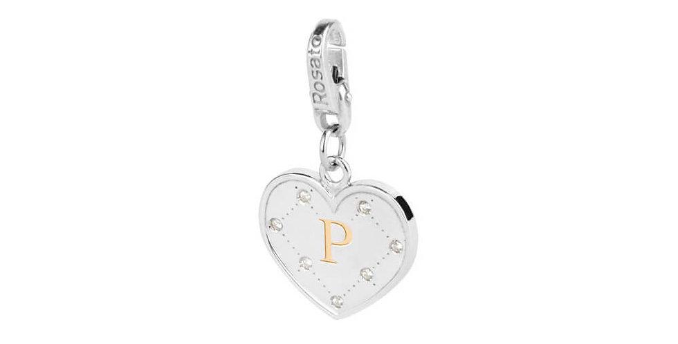 """ROSATO Charm Cuore  con Iniziale """"P"""" in Argento My Alphabet – AL016"""