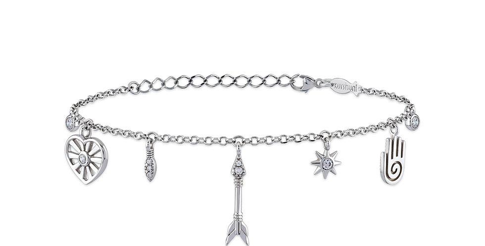 KURSHUNI bracciale con pendenti in argento e zirconi KX180-1