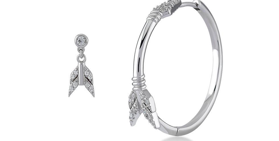KURSHUNI orecchini asimmetrici freccia KX176-3N argento e zirconi