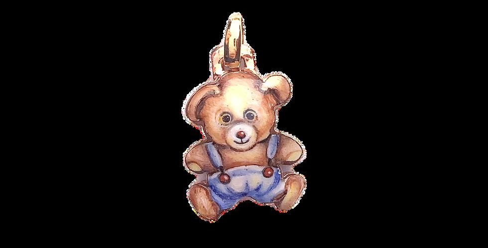 RIVALTA Pendente Orso in oro dipinto a mano