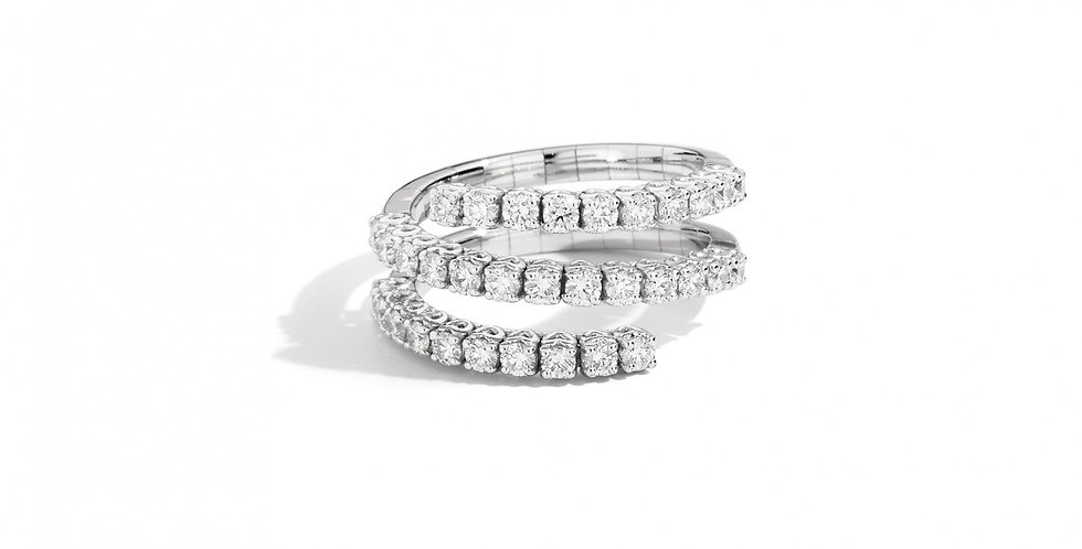 RECARLO Anello tre fasce con molla in oro armonico 18 kt e diamanti R01FA003