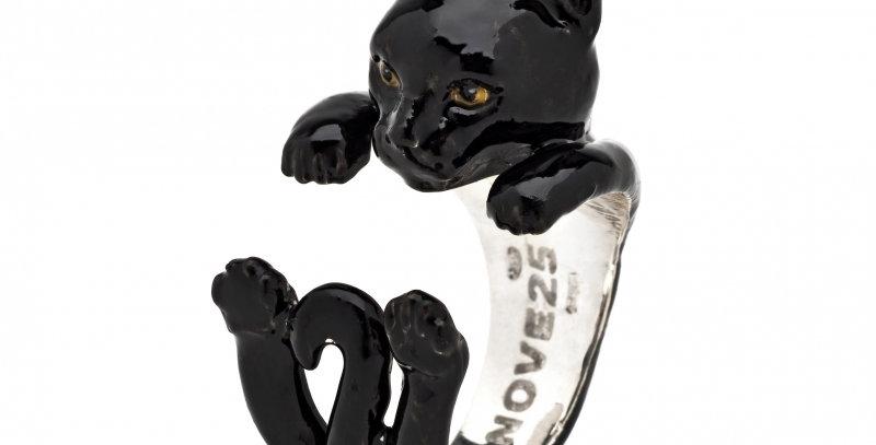 CAT FEVER Anello Hug Europeo Smaltato Nero CATANECM003