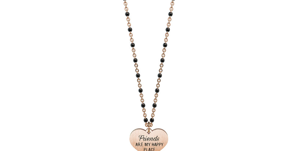"KIDULT collana  751077 LOVE amicizia  CUORE-FRIENDS"" Friends are my happy place"""