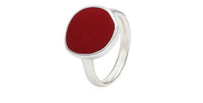 CUORI E FRECCE Anello in argento 925 con smalto rosso