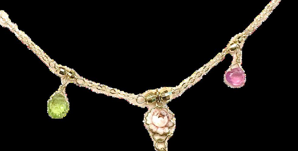 RIVALTA Collana in oro con ciondoli dipinti a mano