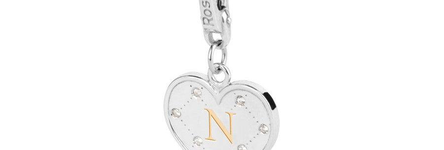 """ROSATO Charm Cuore  con Iniziale """"N"""" in Argento My Alphabet – AL014"""