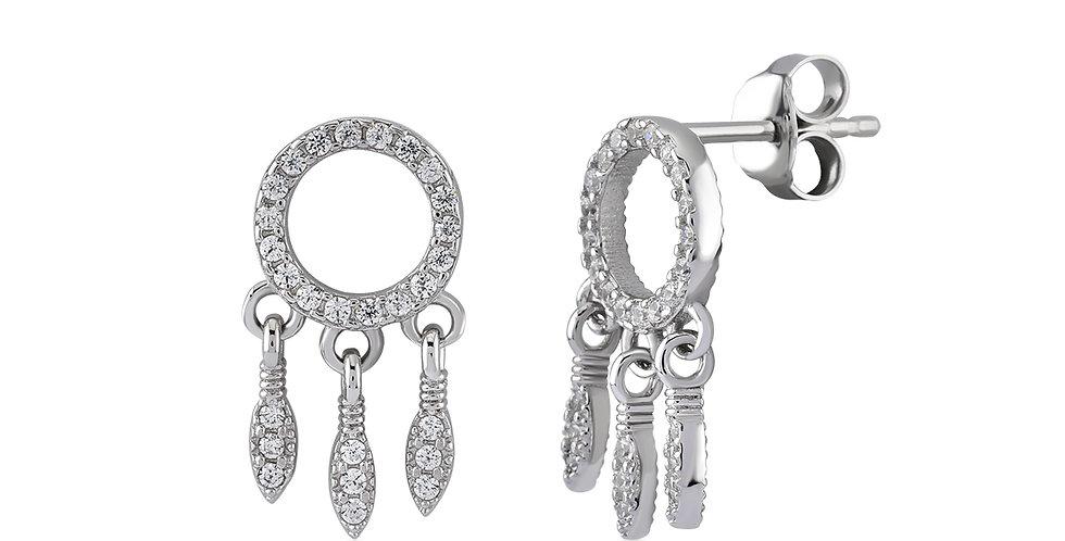 KURSHUNI orecchini argento e zirconi KX175-3 acchiappasogni-protezione