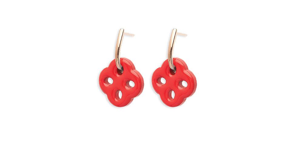 Rosso Prezioso -Coppia Orecchini rosso corallo HOOK CROSS 21032wa