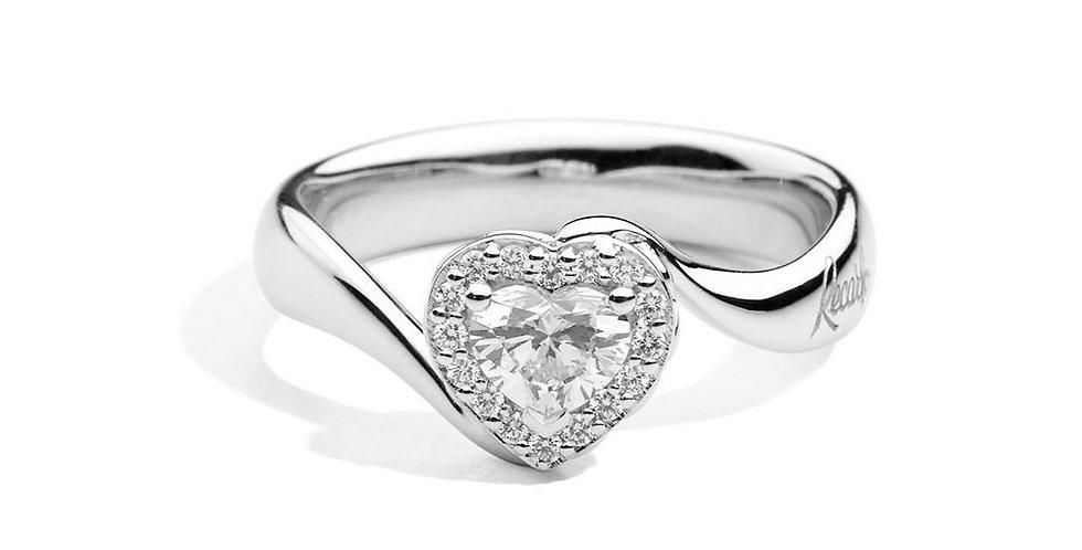 RECARLO Anello Solitario Valentin in oro  18 kt con diamanti taglio brillante