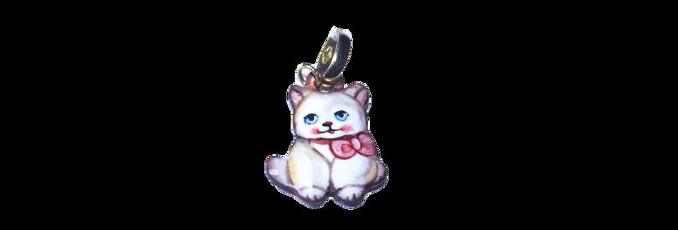 RIVALTA Pendente gatto con fiocco rosa