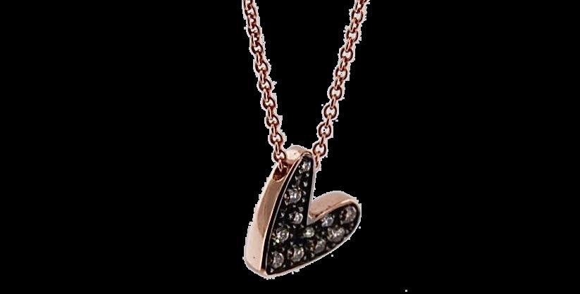 CUORI E FRECCE  Girocollo della linea preziosi in oro rosa 9kt con diamanti brow