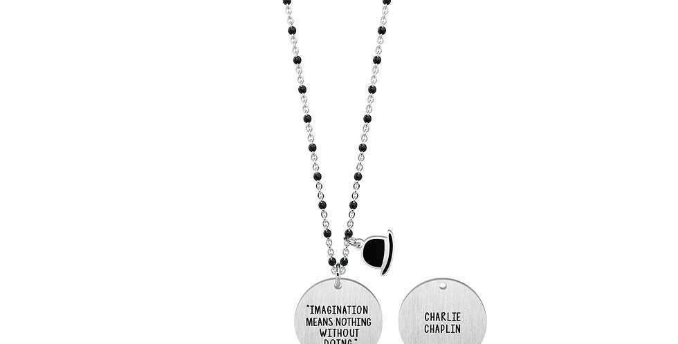 "KIDULT collana ""philosophy""751147 CHARLIE CHAPLIN imaginatio means...."