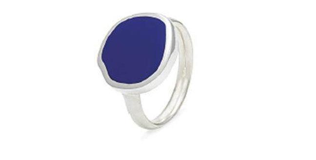 CUORI E FRECCE Anello in argento 925 con smalto blu