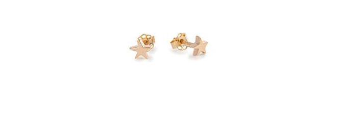 CUORI E FRECCE orecchini a lobo con stelline in oro 9 ct
