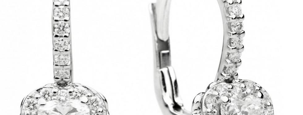 RECARLO Orecchino a monachella sgriffata in oro bianco 18 kt con diamanti