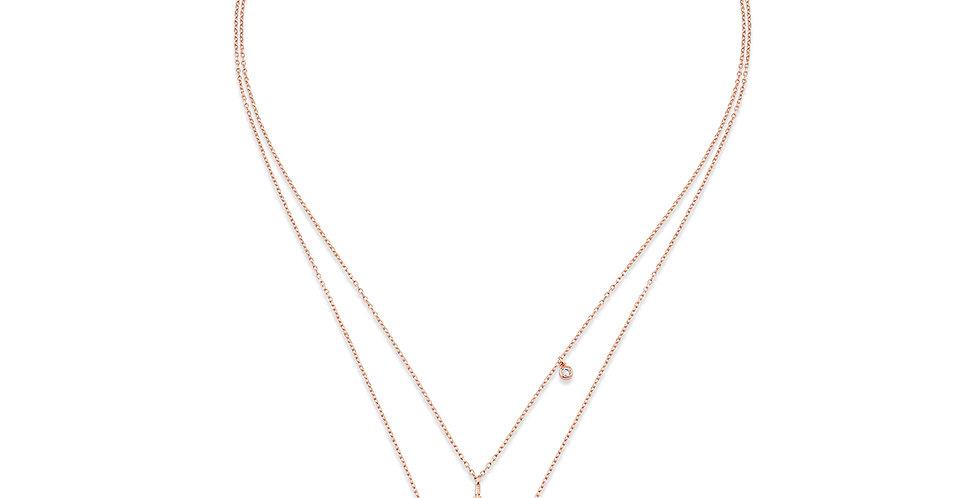 KURSHUNI collana doppia con cuore in argento rosa KX182-23 cuore-amore