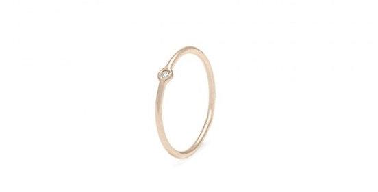 CUORI E FRECCE Anello sottile in oro 9 kt, diamante naturale da 0.02 ct. SLGAD