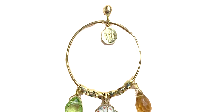 RIVALTA Orecchino singolo a cerchio in oro dipinto a mano