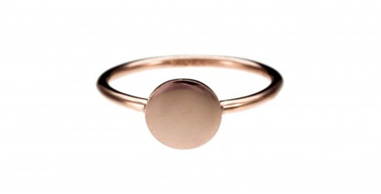 CUORI E FRECCE anello oro 9ct con TONDO personalizzabile