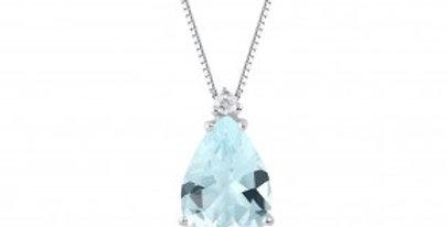Girocollo oro bianco,diamanti e acquamarina a goccia ct 1,6  DEMETRA