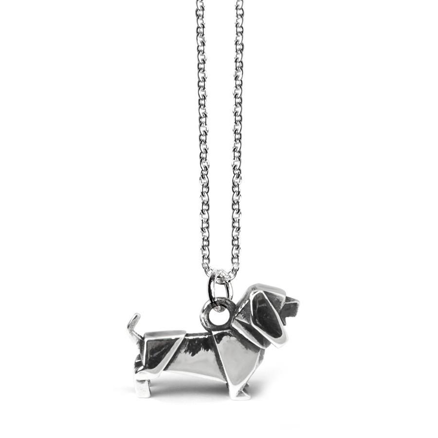 Dog Fever Sterling Silver Dachshund Origami Pendant.jpg