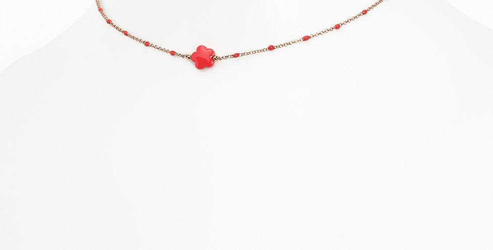 Rosso Prezioso - Girocollo monofiore  rosso corallo  21028wa