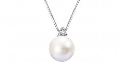 Girocollo  in Oro 18Kt con  Diamante e perla Akoya 8/8,5 DEMETRA