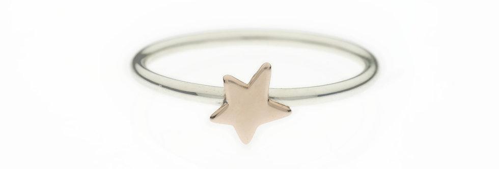 CUORI E FRECCE  Together Anello in argento 925 con stella in oro rosa 9 ctt