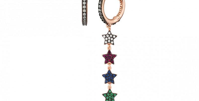 KURSHUNI orecchini argento asimmetrici con zirconi Mini Star KG265B-3NSP