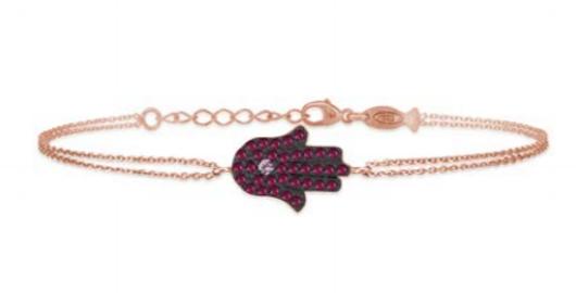 KURSHUNI bracciale in argento rosa mano di fatima con zirconcini rossi KU113-100
