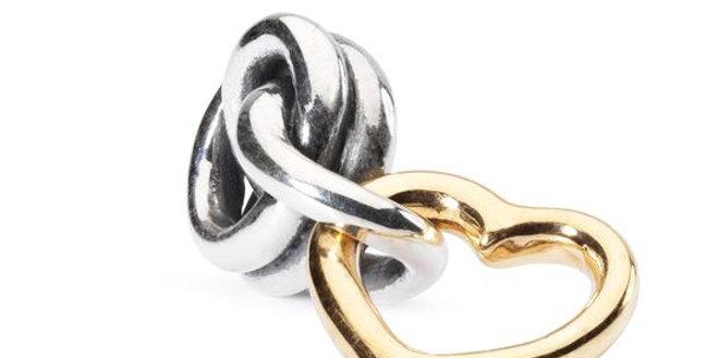 """TROLLBEADS """" buona fortuna d'amore """" in  argento e oro  TAUBE-00068"""